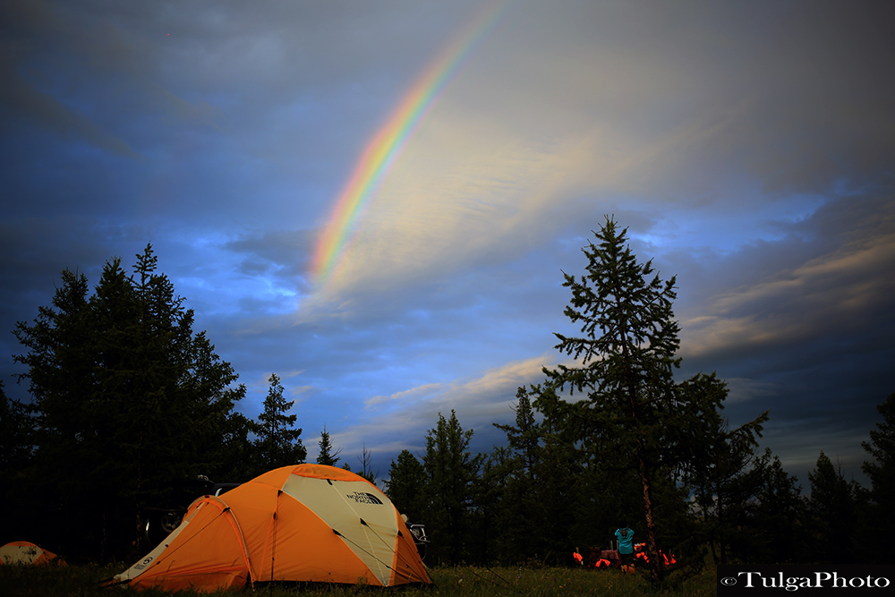 Tented camping in wilderness Mongolia
