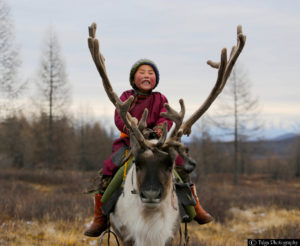 Reindeer Boy at autumn camp of the Tsaatan Herders Mongolia