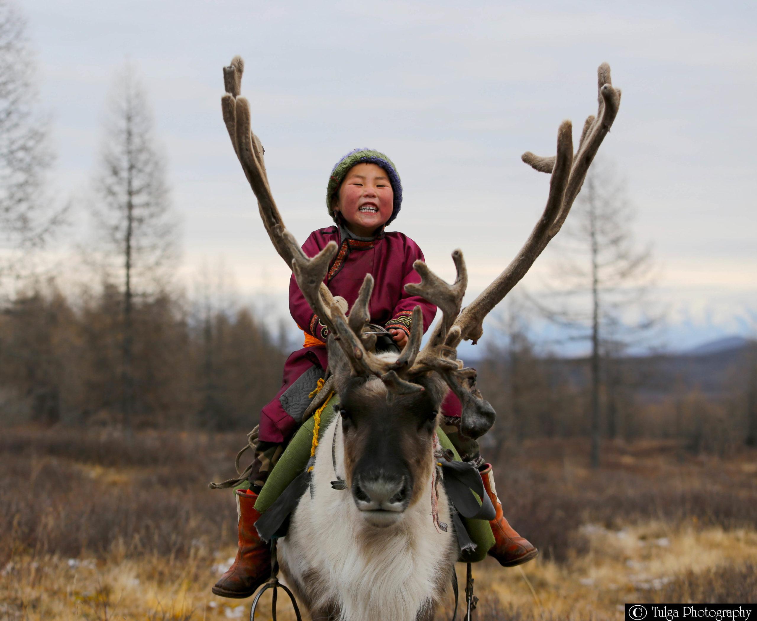 Reindeer Boy at autumn camp of the Tsaatan Herders Mongolia