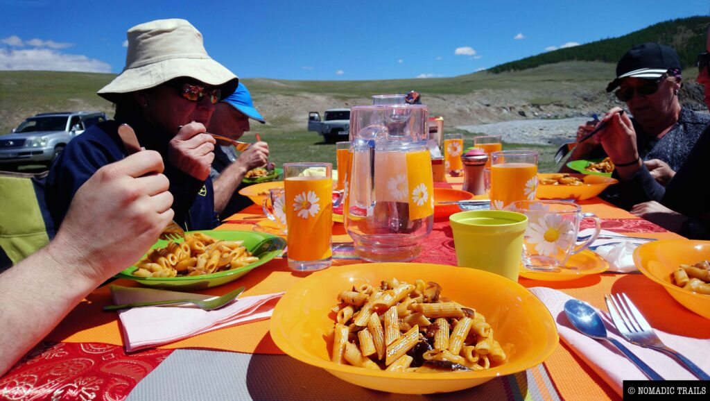 Expedition tour lunch pasta with Nomadic Trails