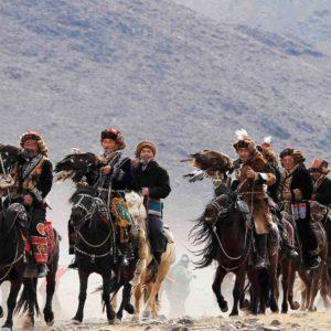 Golden Eagle Festival parade of the Eagle Hunters