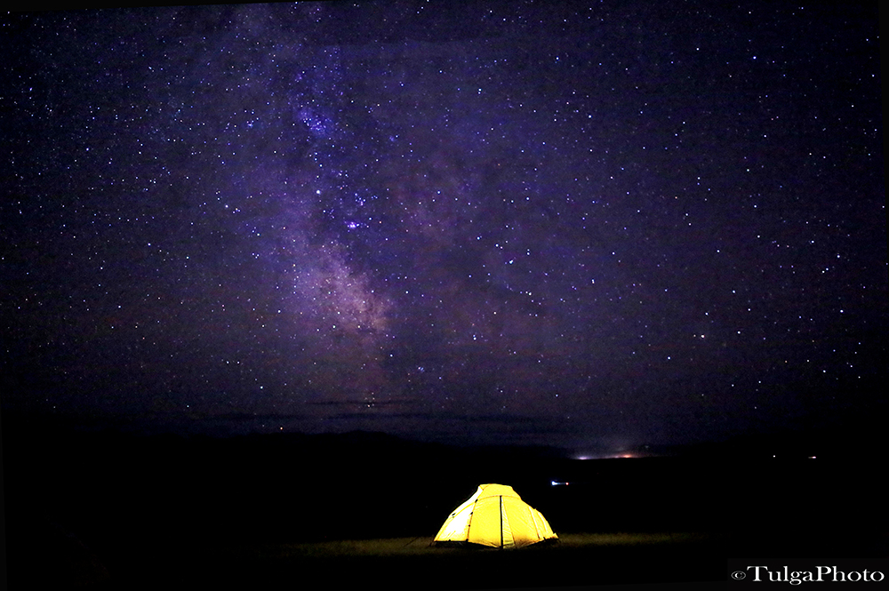 Tented camping under the starry sky of Mongolia