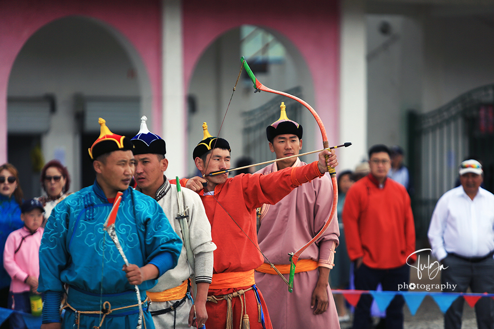 Male archery at Naadam Festival Mongolia