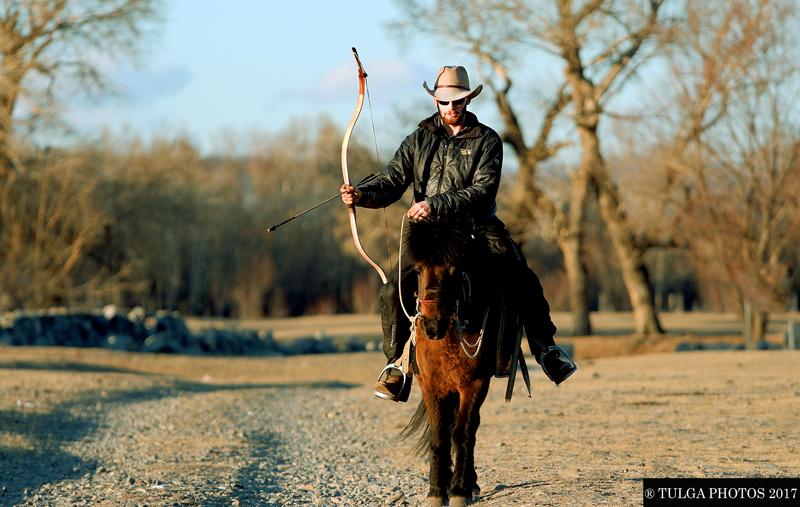 Matthew horseback archer traveler in Mongolia