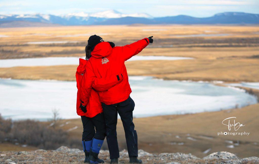 Couple in winter Mongolioa