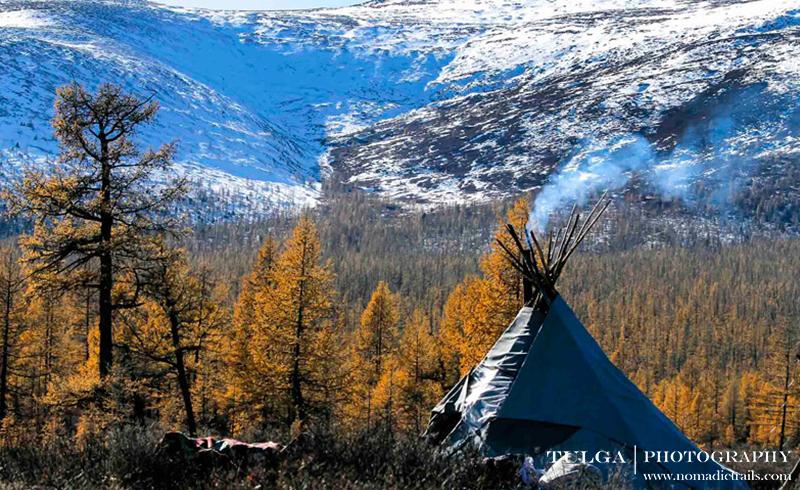 tsaatan teepee before mountainous scenery