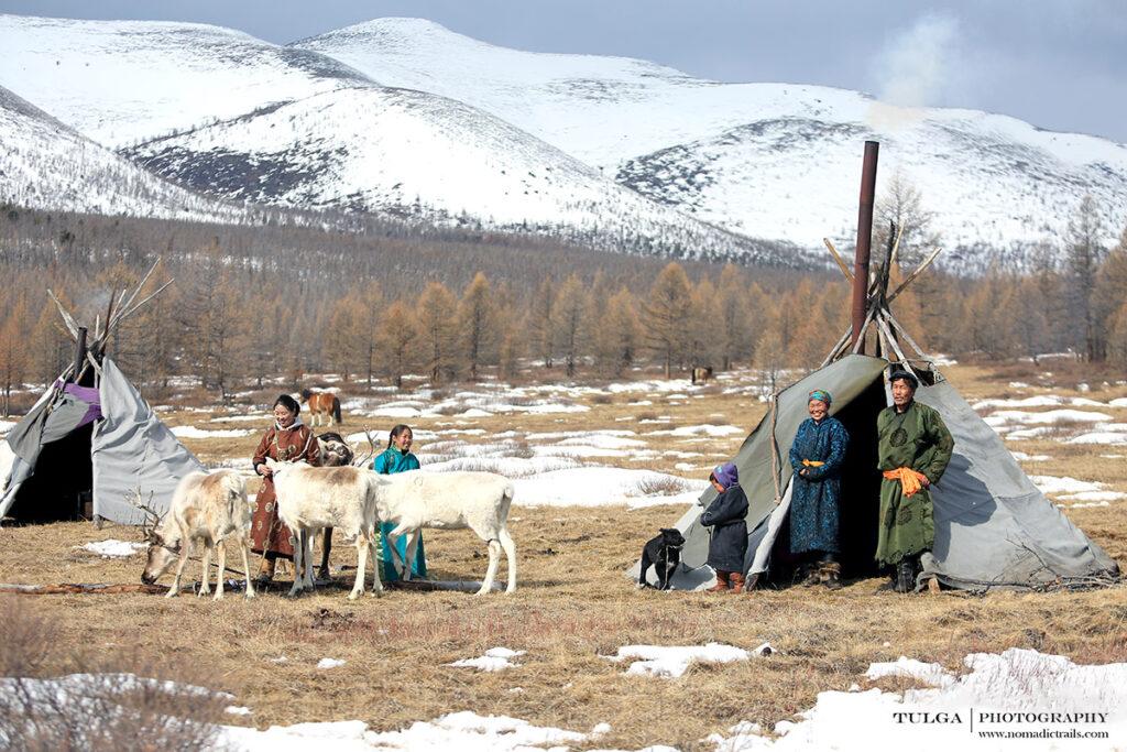 Reindeer herders in traditional tee-pee