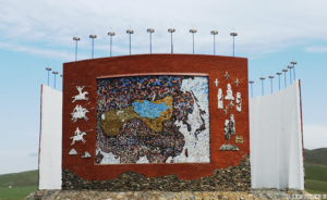 Monument of Mongol state maps at Kharkhorin