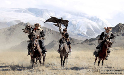 Three golden Eagle Hunters galloping private photoshoot Golden Eagle Festival Tour