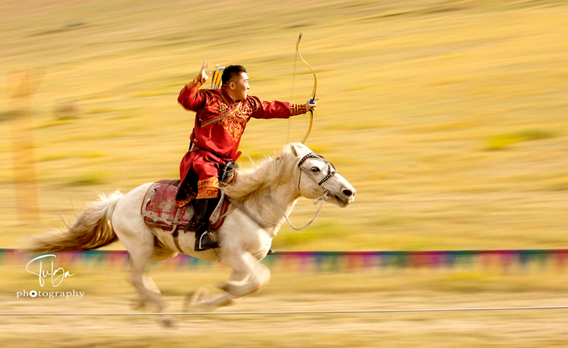 horse archer with deel during competition