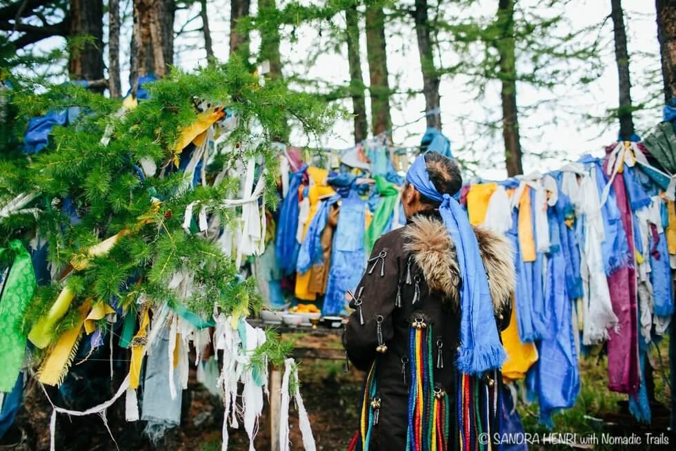 Shaman at ritual place - Sandra Henri during Spiritual Shaman Tour to Mongolia with Nomadic Trails