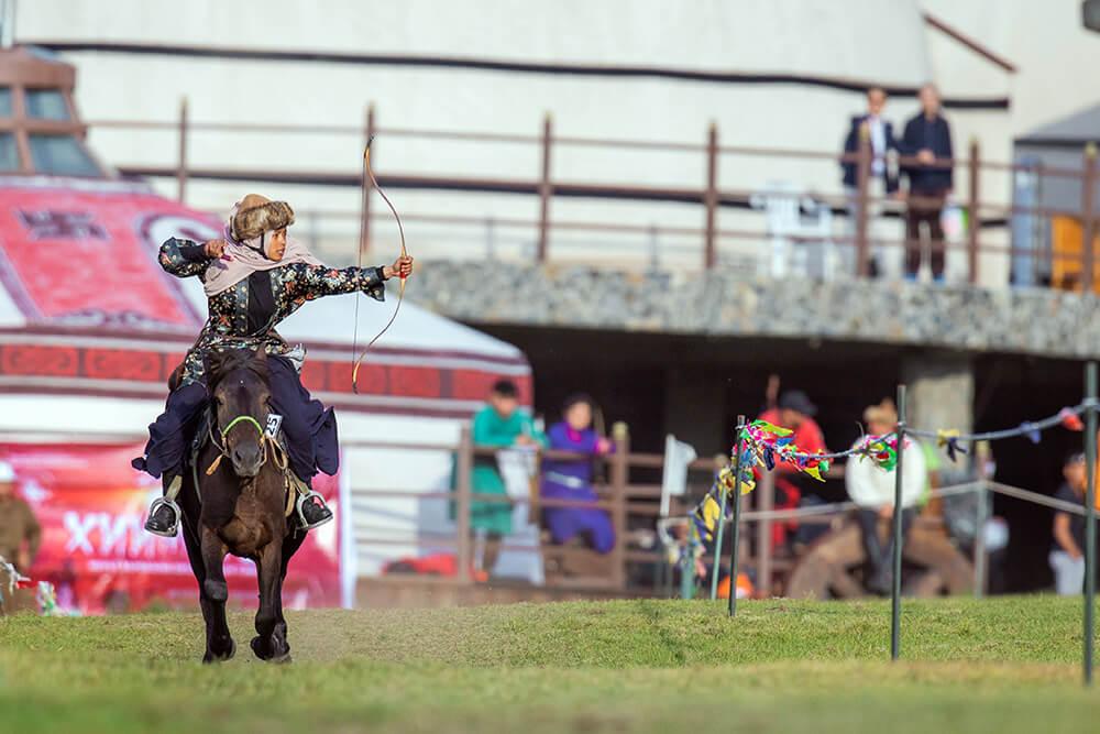 Horse archery tournament participant