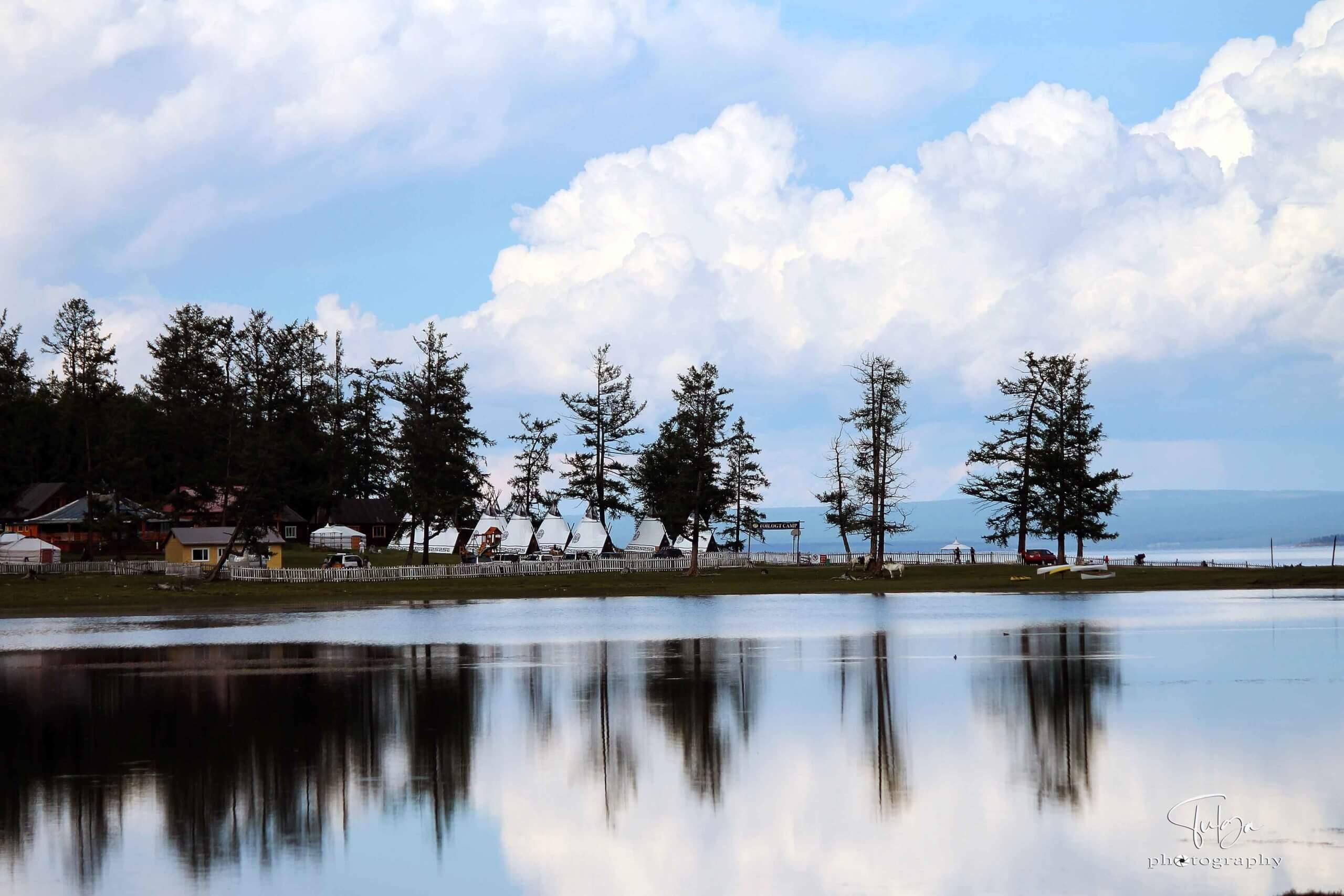 Khuvsgul ger camp view with Khuvsgul lake