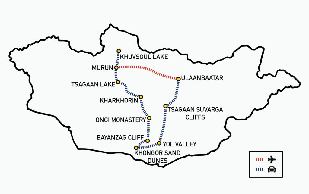 Khuvsgul lake and Gobi tour Mongolia MAP