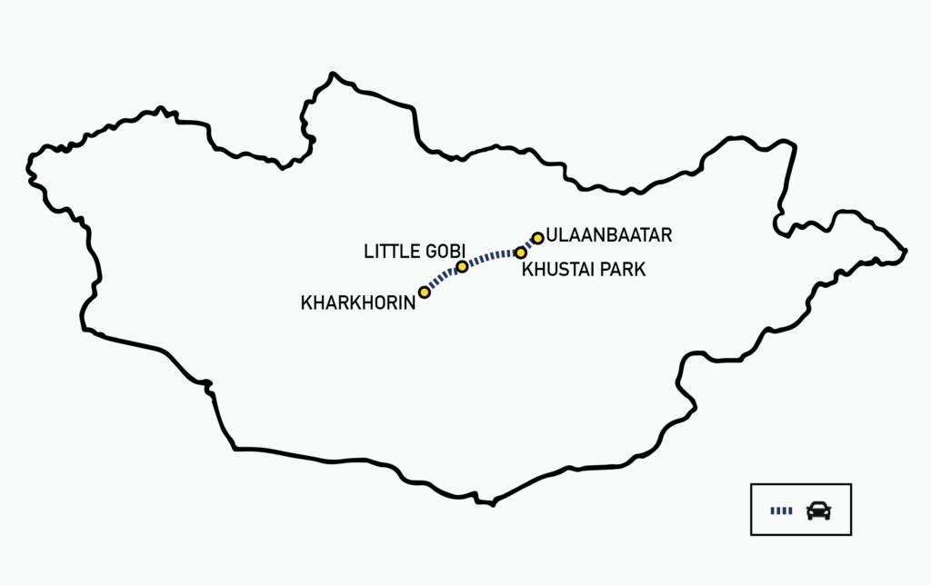 Short Kharkhorin tour Mongolia Map
