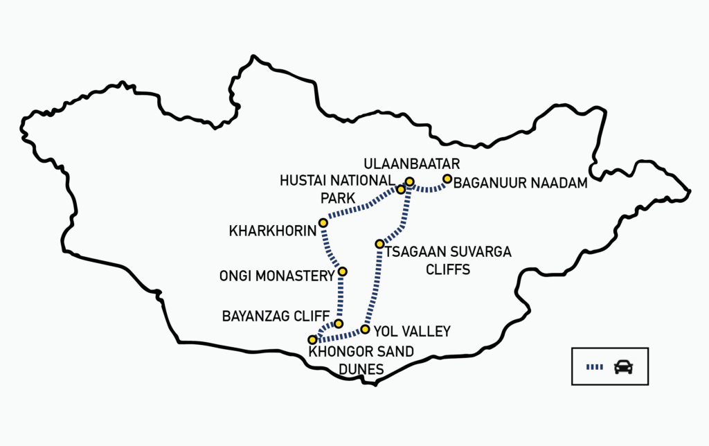 Naadam Festival Tour Mongolia 2022 map