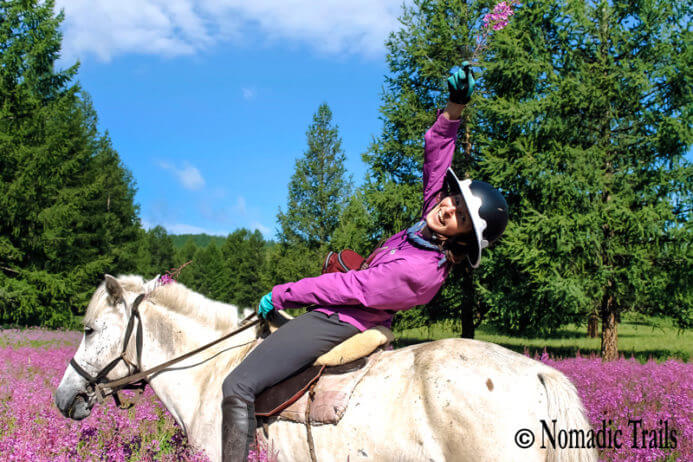 horse riding through flower valley in Mongolia - horse riding tips featured image