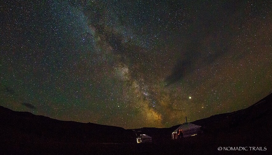 Staying overnight in Mongolian ger under starry night sky