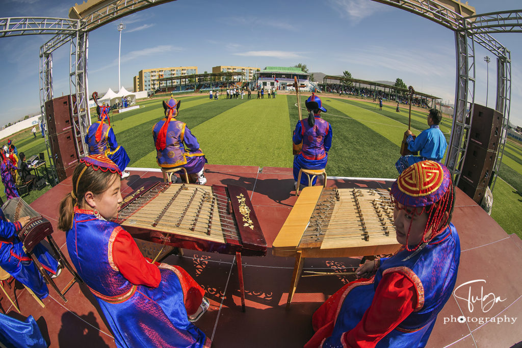 Stage at Naadam Festival with traditional instruments