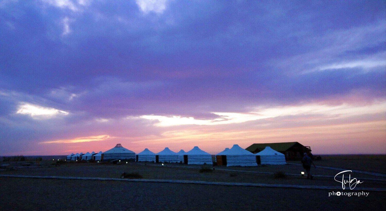 Ger camp in Gobi during sunset