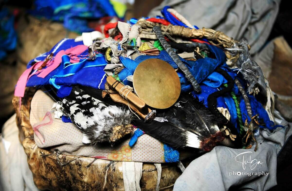 Mongolian Shaman's drum and accessories