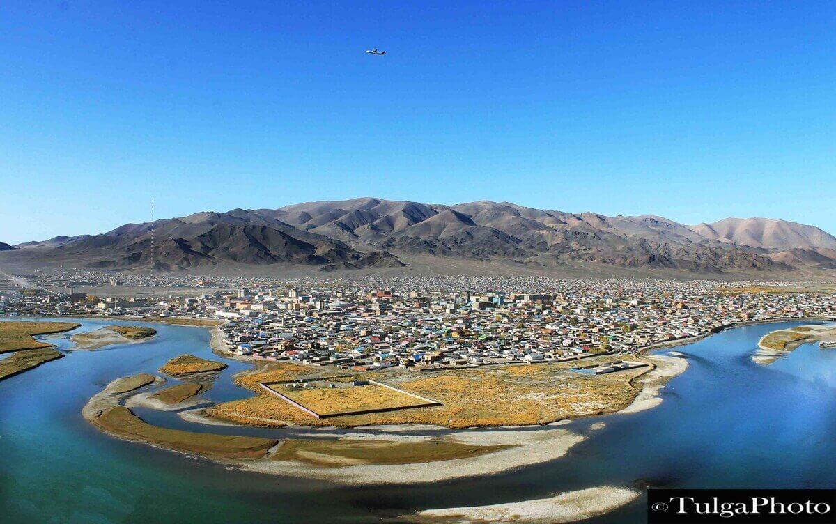 Ulgii town in Western Mongolia from Airplane