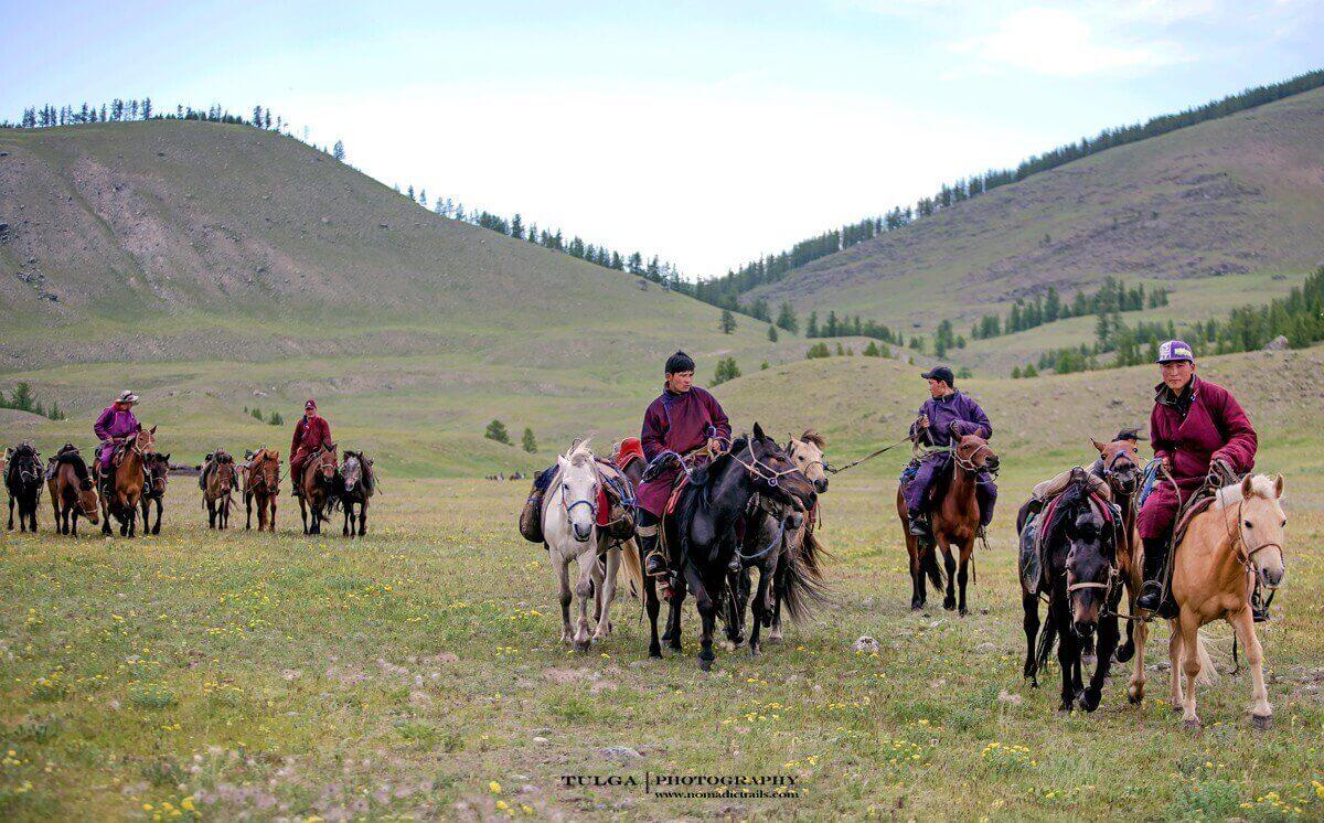 local men bringing their horses for Horse riding tour to Altai Tavan Bogd
